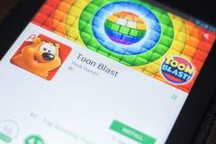 Ryazan, Russia - April 19, 2018 - Toon Blast mobile app on the display of tablet PC. Ryazan, Russia - April 19, 2018 - Toon Blast mobile app on the display of Stock Images