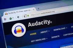 Ryazan, Russia - August 26, 2018: Homepage of Audacityteam website on the display of PC. Url - Audacityteam.org. Ryazan, Russia - August 26, 2018: Homepage of stock image