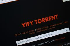 Ryazan, Russia - August 26, 2018: Homepage of YIFY-torrent website on the display of PC. Url - YIFY-torrent.org. Ryazan, Russia - August 26, 2018: Homepage of royalty free stock photo
