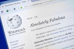 Ryazan, Russia - August 19, 2018: Wikipedia page about Absolutely Fabulous on the display of PC. Ryazan, Russia - August 19, 2018: Wikipedia page about stock images