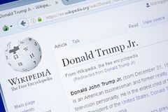 Ryazan, Russia - August 28, 2018: Wikipedia page about Donald Trump Jr. on the display of PC. royalty free stock image