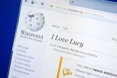 Ryazan, Russia - August 28, 2018: Wikipedia page about I Love Lucy on the display of PC. royalty free stock images