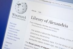 Ryazan, Russia - August 19, 2018: Wikipedia page about Library of Alexandria on the display of PC. stock images
