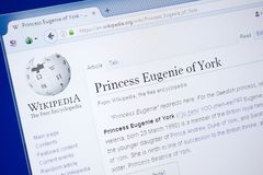 Ryazan, Russia - August 19, 2018: Wikipedia page about Princess Eugenie of York on the display of PC. stock photo