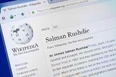 Ryazan, Russia - August 19, 2018: Wikipedia page about Salman Rushdie on the display of PC. stock photography