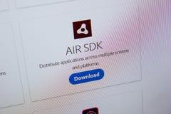 Ryazan, Russia - July 11, 2018: Adobe AIR SDK, software logo on the official website of Adobe. Ryazan, Russia - July 11, 2018: Adobe AIR SDK, software logo on stock photos