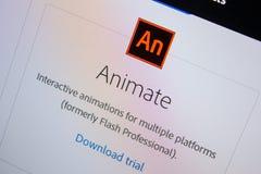Ryazan, Russia - July 11, 2018: Adobe Animate, software logo on the official website of Adobe. Ryazan, Russia - July 11, 2018: Adobe Animate, software logo on stock photo