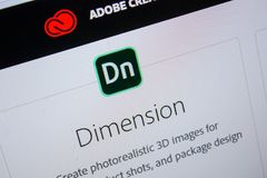 Ryazan, Russia - July 11, 2018: Adobe Dimension, software logo on the official website of Adobe. Ryazan, Russia - July 11, 2018: Adobe Dimension, software logo royalty free stock photos