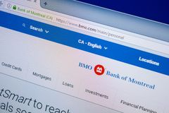 Ryazan, Russia - July 25, 2018: Homepage of BMO website on the display of PC. Url - BMO.com . stock images