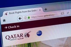 Ryazan, Russia - July 25, 2018: Homepage of QatarAirWays website on the display of PC. Url - QatarAirWays.com . royalty free stock images