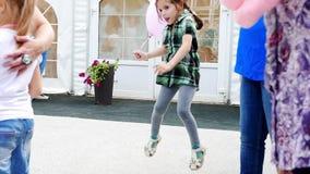 Ryazan, Russia - July 25: Little girl jump on street festival - she win the contest