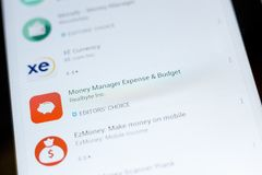 Ryazan, Russia - July 03, 2018: Money Manager Expense and Budget icon in the list of mobile apps. Ryazan, Russia - July 03, 2018: Money Manager Expense and stock photos