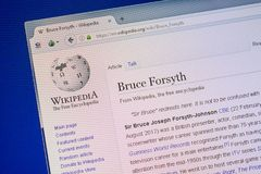 Ryazan, Russia - July 09, 2018: Page on Wikipedia about Bruce Forsyth on the display of PC. Ryazan, Russia - July 09, 2018: Page on Wikipedia about Bruce stock image
