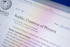 Ryazan, Russia - July 09, 2018: Page on Wikipedia about Sophie, Countess of Wessex on the display of PC. Ryazan, Russia - July 09, 2018: Page on Wikipedia about royalty free stock photo