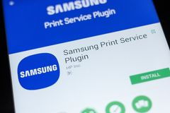 Ryazan, Russia - July 03, 2018: Samsung Print Service Plugin mobile app on the display of tablet PC. Ryazan, Russia - July 03, 2018: Samsung Print Service stock image