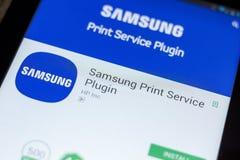 Ryazan, Russia - July 03, 2018: Samsung Print Service Plugin mobile app on the display of tablet PC. Ryazan, Russia - July 03, 2018: Samsung Print Service stock photo