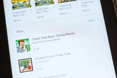 Ryazan, Russia - July 03, 2018: Trailer Park Boys: Greasy Money icon in the list of mobile apps. Ryazan, Russia - July 03, 2018: Trailer Park Boys: Greasy Money royalty free stock photography