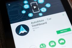 Ryazan, Russia - June 24, 2018: AutoMate Car Dashboard mobile app on the display of tablet PC. Ryazan, Russia - June 24, 2018: AutoMate Car Dashboard mobile app stock photo