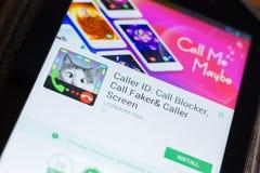 Ryazan, Russia - June 24, 2018: Caller ID, Call Blocker mobile app on the display of tablet PC. Ryazan, Russia - June 24, 2018: Caller ID, Call Blocker mobile stock images