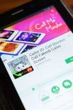 Ryazan, Russia - June 24, 2018: Caller ID, Call Blocker mobile app on the display of tablet PC. Ryazan, Russia - June 24, 2018: Caller ID, Call Blocker mobile stock photography