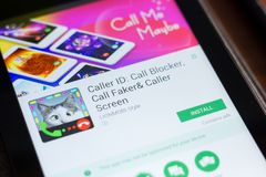Ryazan, Russia - June 24, 2018: Caller ID, Call Blocker mobile app on the display of tablet PC. Ryazan, Russia - June 24, 2018: Caller ID, Call Blocker mobile stock photos