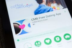 Ryazan, Russia - June 24, 2018: CMB Free Dating App mobile app on the display of tablet PC. Ryazan, Russia - June 24, 2018: CMB Free Dating App mobile app on stock photos