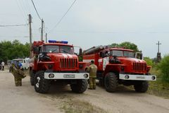 Deployment of fire trucks on the basis of the `Ural`. RYAZAN, RUSSIA - JUNE 16, 2015: Deployment of fire trucks on the basis of the `Ural Royalty Free Stock Photography