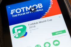 Ryazan, Russia - June 24, 2018: FotMob World Cup mobile app on the display of tablet PC. Ryazan, Russia - June 24, 2018: FotMob World Cup mobile app on the stock image