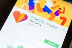 Ryazan, Russia - June 24, 2018: Google Fit - Fitness Tracking mobile app on the display of tablet PC.