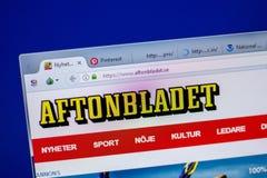 Ryazan, Russia - June 05, 2018: Homepage of Aftonbladet website on the display of PC, url - Aftonbladet.se. Ryazan, Russia - June 05, 2018: Homepage of royalty free stock image