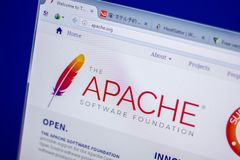 Ryazan, Russia - June 05, 2018: Homepage of Apache website on the display of PC, url - Apache.org. Ryazan, Russia - June 05, 2018: Homepage of Apache website on stock image