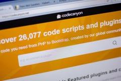 Ryazan, Russia - June 05, 2018: Homepage of CodeCanyon website on the display of PC, url - CodeCanyon.net. Stock Images