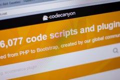 Ryazan, Russia - June 05, 2018: Homepage of CodeCanyon website on the display of PC, url - CodeCanyon.net. Stock Photos