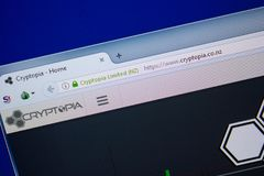 Ryazan, Russia - June 26, 2018: Homepage of Cryptopia website on the display of PC. URL - Cryptopia.co.nz. royalty free stock photos