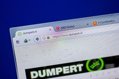 Ryazan, Russia - June 05, 2018: Homepage of Dumpert website on the display of PC, url - Dumpert.nl. Ryazan, Russia - June 05, 2018: Homepage of Dumpert website royalty free stock photos