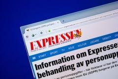 Ryazan, Russia - June 26, 2018: Homepage of Expressen website on the display of PC. URL - Expressen.se. Ryazan, Russia - June 26, 2018: Homepage of Expressen royalty free stock images