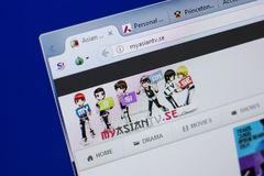 Ryazan, Russia - June 17, 2018: Homepage of MyAsiantv website on the display of PC, url - MyAsiantv.se. Ryazan, Russia - June 17, 2018: Homepage of MyAsiantv stock photography