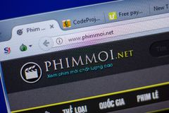 Ryazan, Russia - June 05, 2018: Homepage of Phimmoi website on the display of PC, url - Phimmoi.net. Royalty Free Stock Photos