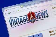Ryazan, Russia - June 16, 2018: Homepage of TheVintageNews website on the display of PC, url - TheVintageNews.com. Royalty Free Stock Images