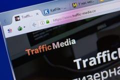Ryazan, Russia - June 17, 2018: Homepage of Traffic-Media website on the display of PC, url - Traffic-Media.co. Ryazan, Russia - June 17, 2018: Homepage of stock photos