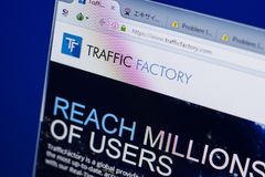 Ryazan, Russia - June 16, 2018: Homepage of TrafficFactory website on the display of PC, url - TrafficFactory.com. Ryazan, Russia - June 16, 2018: Homepage of royalty free stock photography