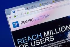 Ryazan, Russia - June 16, 2018: Homepage of TrafficFactory website on the display of PC, url - TrafficFactory.com. Ryazan, Russia - June 16, 2018: Homepage of royalty free stock image