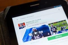 Ryazan, Russia - June 24, 2018: Madden NFL Football icon on the list of mobile apps. Ryazan, Russia - June 24, 2018: Madden NFL Football icon on the list of royalty free stock image