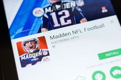 Ryazan, Russia - June 24, 2018: Madden NFL Football mobile app on the display of tablet PC. Ryazan, Russia - June 24, 2018: Madden NFL Football mobile app on stock photography