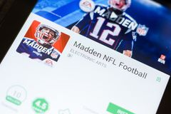 Ryazan, Russia - June 24, 2018: Madden NFL Football mobile app on the display of tablet PC. Ryazan, Russia - June 24, 2018: Madden NFL Football mobile app on stock photo