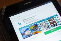 Ryazan, Russia - June 24, 2018: Microsoft Bing Search icon on the list of mobile apps. stock photography