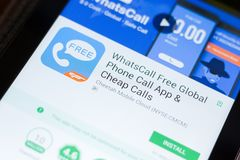 Ryazan, Russia - June 24, 2018: WhatsCall Free Global Phone Calls mobile app on the display of tablet PC. Ryazan, Russia - June 24, 2018: WhatsCall Free Global royalty free stock photos