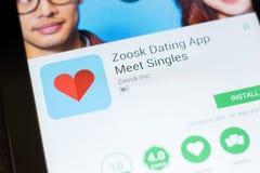 Ryazan, Russia - June 24, 2018: Zoosk Dating - Meet Singles mobile app on the display of tablet PC. Ryazan, Russia - June 24, 2018: Zoosk Dating - Meet Singles royalty free stock photo