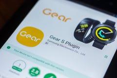Ryazan, Russia - March 21, 2018 - Gear S Plugin mobile app on the screen of tablet PC. Ryazan, Russia - March 21, 2018 - Gear S Plugin mobile app on the screen Stock Images