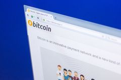 Ryazan, Russia - March 29, 2018 - Homepage of Bitcoin cryptocurrency on the display of PC, web adress - bitcoin.org. Ryazan, Russia - March 29, 2018 - Homepage Stock Image